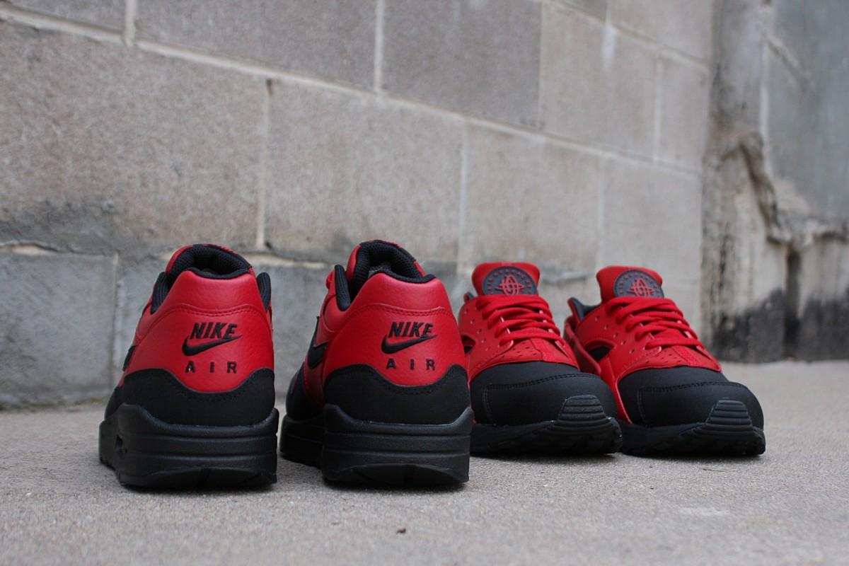 Nike Air Max 1 Ltr Prm & Air Huarache Prm in Gym Red/Black