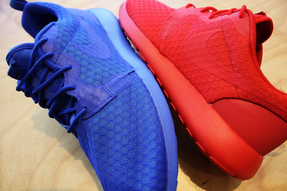 check out 562dd 22e78 ... best price nike roshe one hyperfuse in university red and racer blue  features reflective accents.